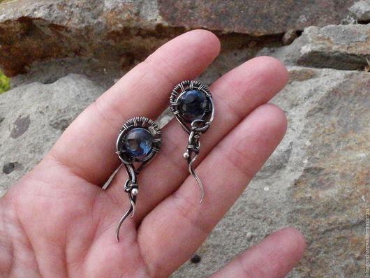 серебряные серьги - гвоздики с кварцем,серебро серьги, серьги серебряные, оригинальные серьги, серьги wire wrap,wire wrap, серьги с кварцем, подарок девушке