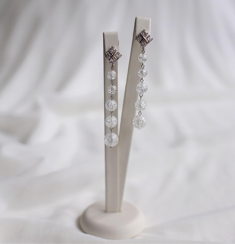 Длинные серьги с сахарным кварцем для образа невесты, Серьги, Санкт-Петербург,  Фото №1