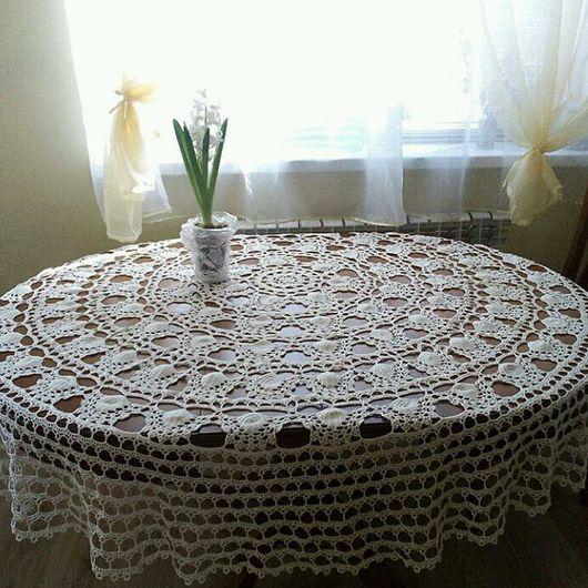 Текстиль, ковры ручной работы. Ярмарка Мастеров - ручная работа. Купить Скатерть для круглого стола, диаметр 2 м.. Handmade.