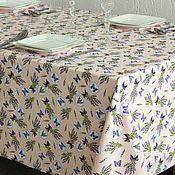 """Материалы для творчества ручной работы. Ярмарка Мастеров - ручная работа Ткань для столового белья """"Лаванда и бабочки"""". Handmade."""
