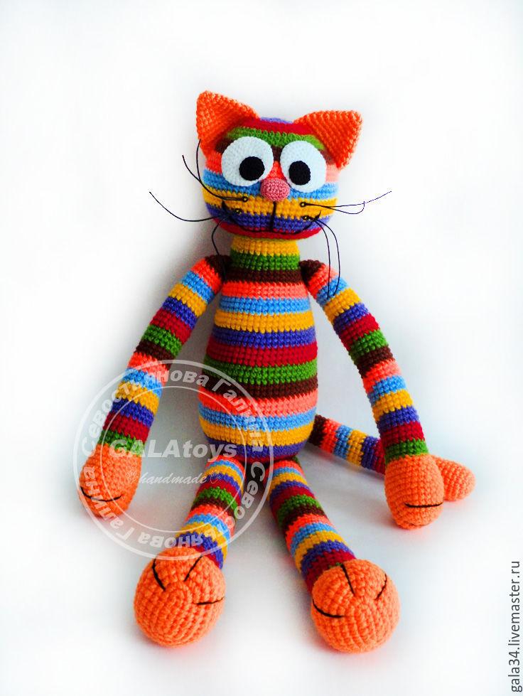 Cat rainbow (70 cm). Knitted toy, Stuffed Toys, Volgograd,  Фото №1
