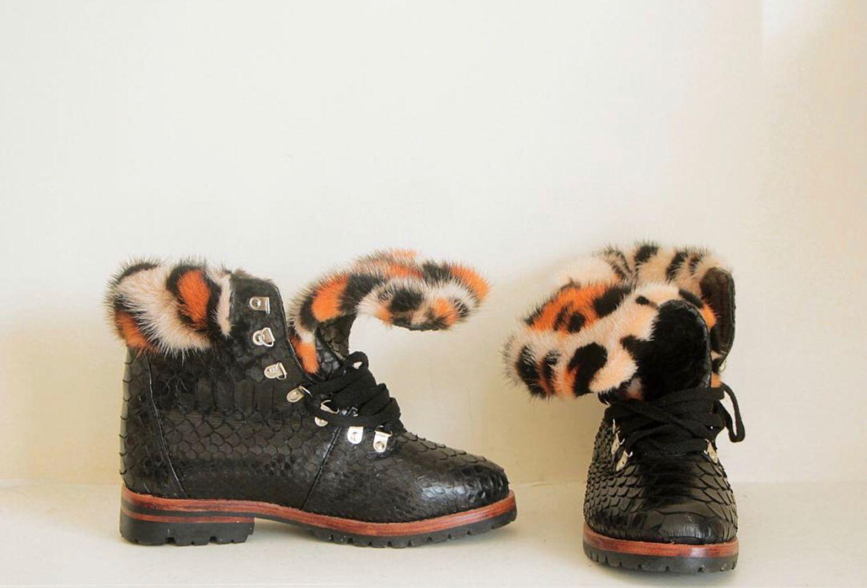 7141b4885d42 Ботинки из кожи питона с мехом норки – купить в интернет-магазине на  Ярмарке ...