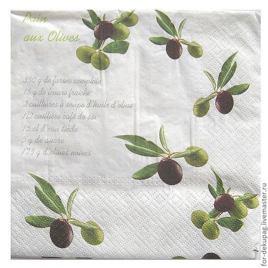 """""""Оливковый рецепт"""" (1/4 салфетки). Белый фон."""