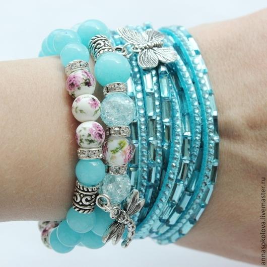 """Браслеты ручной работы. Ярмарка Мастеров - ручная работа. Купить Комплект браслетов """"Нежно-голубой"""". Handmade. Голубой, подарок маме"""