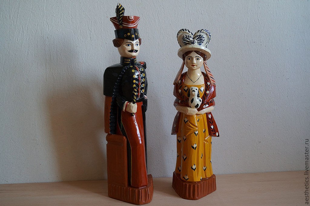Toy-sculpture from wood hussars and the lady with the dog, Souvenirs3, Rostov, Фото №1