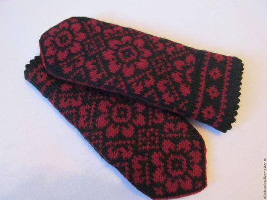 Варежки, митенки, перчатки ручной работы. Ярмарка Мастеров - ручная работа. Купить Варежки вязаные женские с орнаментом Успех черно-красные. Handmade.