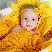 Для дома и интерьера ручной работы. Ярмарка Мастеров - ручная работа Пледик для фотосессии новорожденного + повязка на голову. Handmade.
