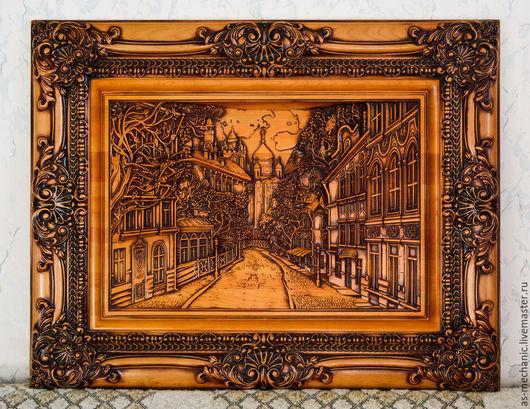 """Город ручной работы. Ярмарка Мастеров - ручная работа. Купить Резное панно""""Город"""". Handmade. Массив дерева, резное панно"""