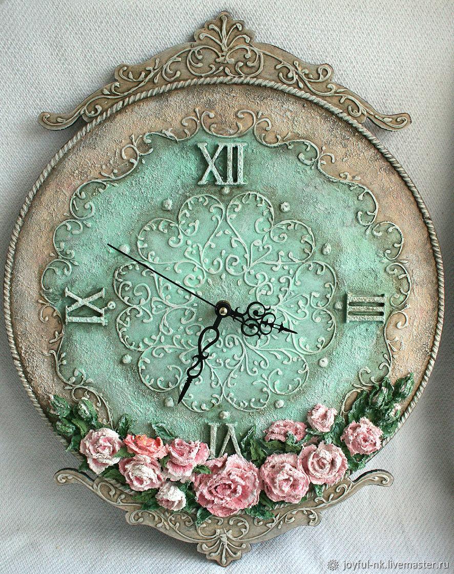"""Часы для дома ручной работы. Ярмарка Мастеров - ручная работа. Купить Часы настенные """"Мятное настроение"""". Handmade. Часы настенные"""