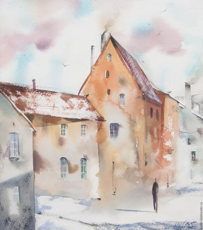 Город ручной работы. Ярмарка Мастеров - ручная работа. Купить Таллин, город вне времени. Акварель, оригинал в паспарту. Handmade.