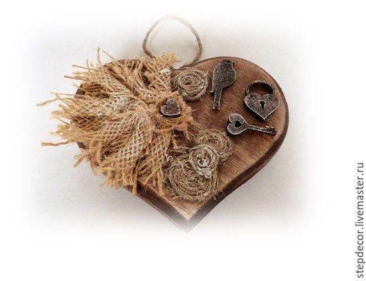 Подвески ручной работы. Ярмарка Мастеров - ручная работа. Купить Новогодние сердечки-подвески.. Handmade. Коричневый, сердце подвеска, джут