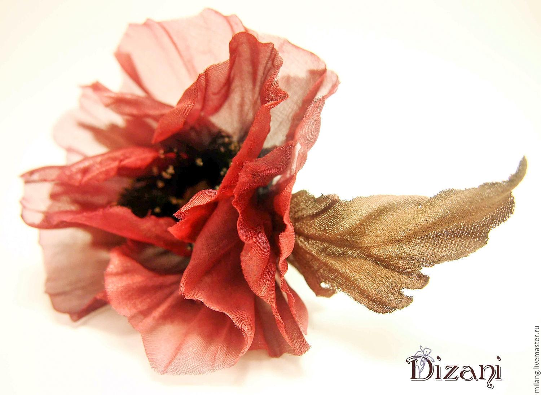 Brooch Silk Poppy Silk Flowers Fabric Flowers Shop Online On