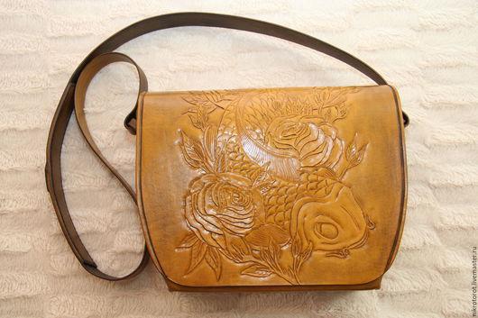 Женские сумки ручной работы. Ярмарка Мастеров - ручная работа. Купить Женская сумка (клатч) на плечо. Handmade. Рыжий, осень