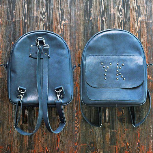 Рюкзаки ручной работы. Ярмарка Мастеров - ручная работа. Купить Кожаный рюкзак ручной работы именной. Handmade. Голубой