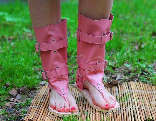 Обувь ручной работы. Ярмарка Мастеров - ручная работа. Купить Сандалии-Сапоги из натуральной кожи Нежно-Розовые. Handmade.