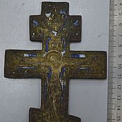 Винтаж handmade. Livemaster - original item Cross crucifixion of Christ copper cast with enamel rare. Handmade.