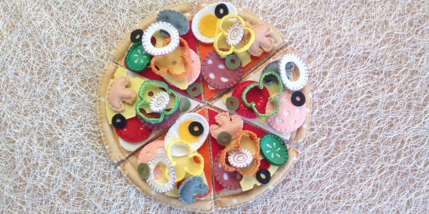 """Пицца """"Домашняя салями"""". Еда из фетра, Кукольная еда, Москва,  Фото №1"""