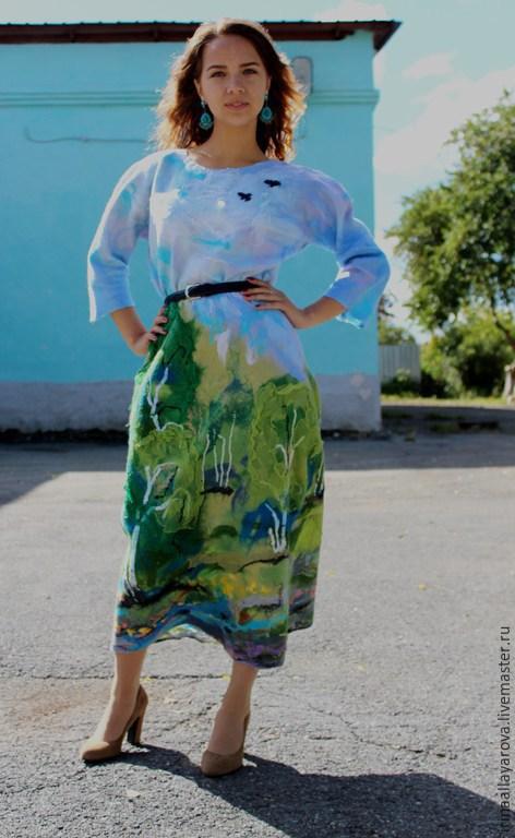 """Платья ручной работы. Ярмарка Мастеров - ручная работа. Купить Валяное платье """"Берёзовая роща"""". Handmade. Зеленый, платье вечернее"""