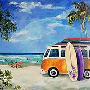 Картины и панно handmade. Livemaster - original item Surfing oil Painting. Handmade.