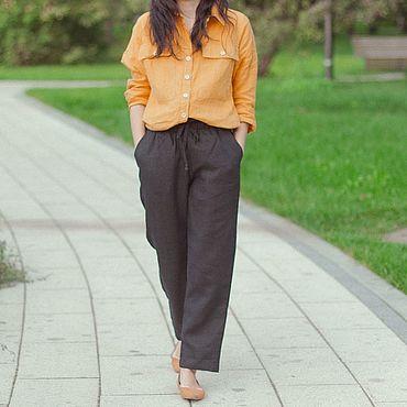 Одежда ручной работы. Ярмарка Мастеров - ручная работа Льняные брюки «Каштан». Handmade.
