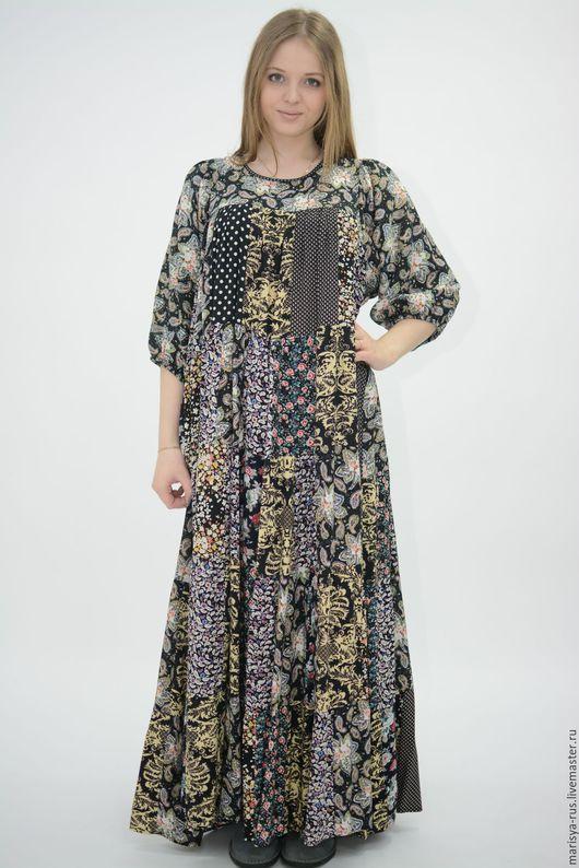 """Платья ручной работы. Ярмарка Мастеров - ручная работа. Купить Лоскутное платье """"Ульяна"""" повтор. Handmade. Черный, длинное платье"""