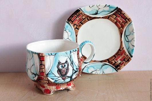 """Сервизы, чайные пары ручной работы. Ярмарка Мастеров - ручная работа. Купить Чайная фарфоровая пара """"Сова"""". Handmade. для чая"""