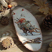 """Подарки к праздникам ручной работы. Ярмарка Мастеров - ручная работа Панно """"Ниссе"""" спил дерева. Handmade."""