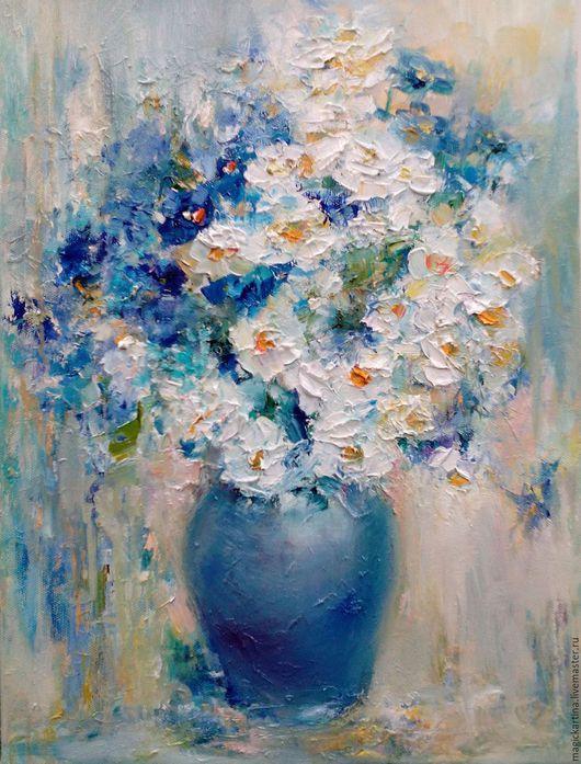 `Лапушки-ромашки` - картина маслом, букет цветов