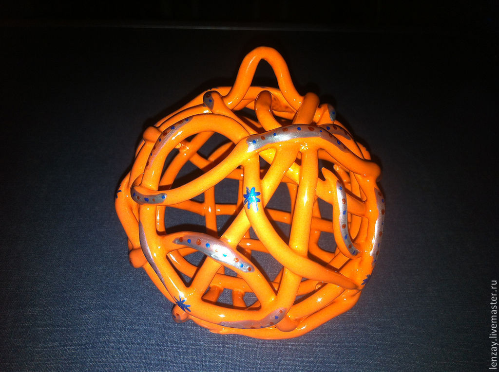 Колокольчики ручной работы. Ярмарка Мастеров - ручная работа. Купить Колокольчик - Елочный шар Оранжевый с бирюзой. Handmade. Новый Год