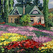 Картины и панно handmade. Livemaster - original item house among the flowers. oil painting.. Handmade.