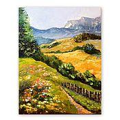Картины и панно handmade. Livemaster - original item Painting Mountain landscape with flowers. Handmade.
