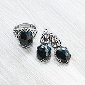 Украшения handmade. Livemaster - original item Black spinel (earrings and ring) (1098). Handmade.