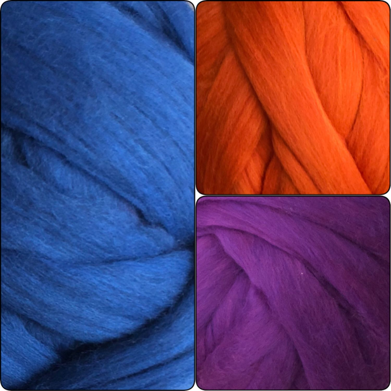 Merino Melange. 20µm.Lazurite. Calendula. Beetroot violet.50 gr, Wool, Moscow,  Фото №1