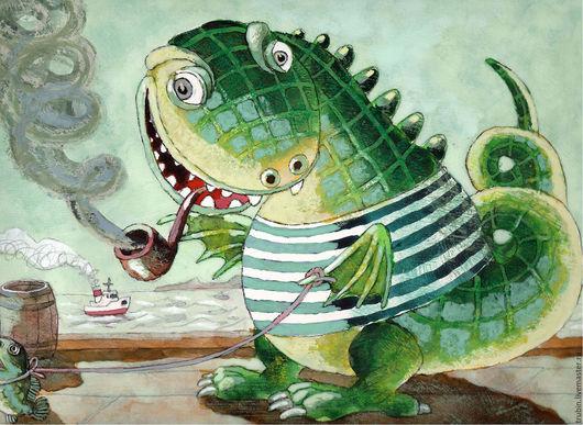 """Фэнтези ручной работы. Ярмарка Мастеров - ручная работа. Купить """"Сказочный персонаж"""" акварельная работа. Handmade. Бордовый, дракон рисунок"""