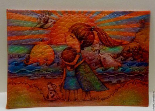 Обложки ручной работы. Ярмарка Мастеров - ручная работа. Купить Кожаная обложка на проездной или социальную карту. На море. Handmade.