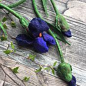 handmade. Livemaster - original item Necklace Blue irises made of wool felted. Handmade.