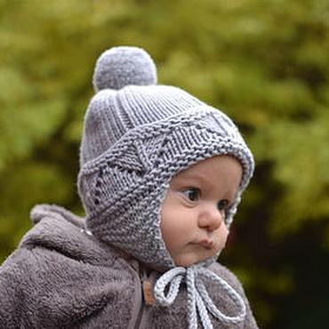 Работы для детей, ручной работы. Ярмарка Мастеров - ручная работа Детская шапочка для мальчика 44-46с, теплая шапочка для новорожденного. Handmade.