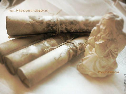 Свадебные аксессуары ручной работы. Ярмарка Мастеров - ручная работа. Купить Авторский Старинный свиток (пригласительные с ангелами). Handmade.