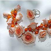 """Украшения ручной работы. Ярмарка Мастеров - ручная работа Браслет с колечком """"Персиковые розы"""". Handmade."""