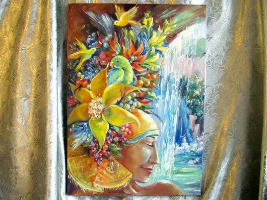 """Картины цветов ручной работы. Ярмарка Мастеров - ручная работа. Купить Картина с цветами и птицами """"Тропиканка"""". Handmade. Разноцветный"""