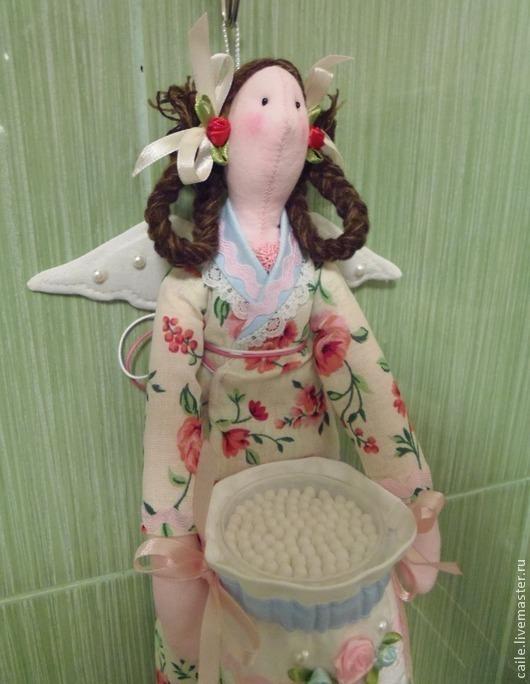 Ванная комната ручной работы. Ярмарка Мастеров - ручная работа. Купить Хранительница ватных дисков и палочек-1. Ангел Тильда. Handmade.