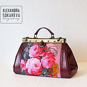 Сумки и аксессуары handmade. Livemaster - original item Leather bag handmade beaded Royal cherry. Handmade.