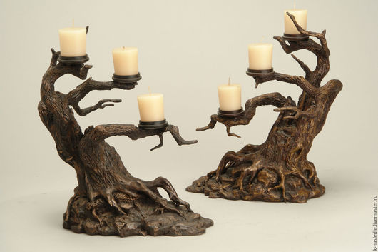 Подсвечники ручной работы. Ярмарка Мастеров - ручная работа. Купить Подсвечники Деревья (бронзовые подсвечники дерево). Handmade.