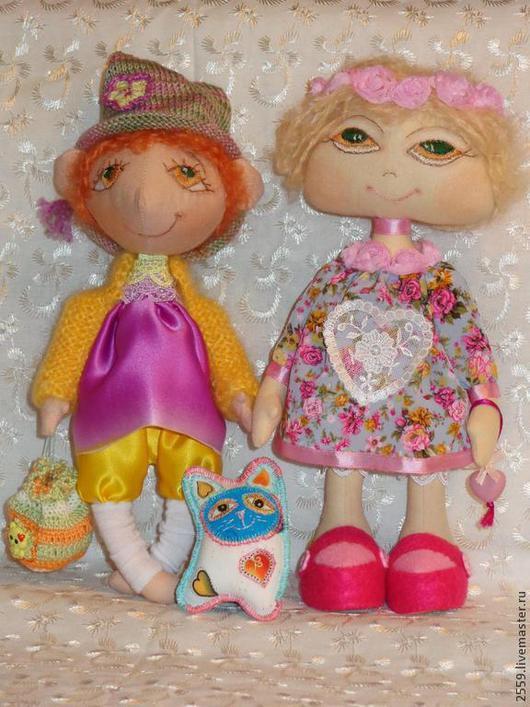 Коллекционные куклы ручной работы. Ярмарка Мастеров - ручная работа. Купить Гномочка и Розочка. Handmade. Кукла, детство, бязь, атлас