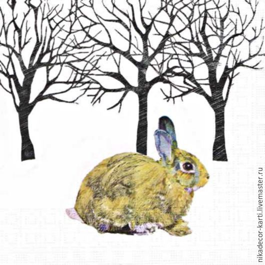 Декупаж и роспись ручной работы. Ярмарка Мастеров - ручная работа. Купить Зимний кролик (3331355) - салфетка для декупажа. Handmade. Разноцветный