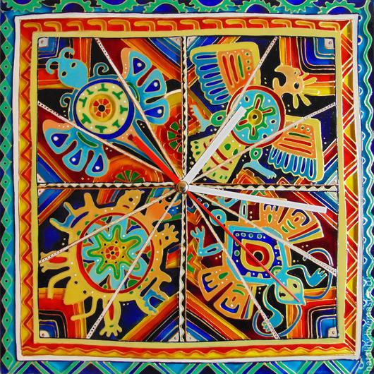"""Часы для дома ручной работы. Ярмарка Мастеров - ручная работа. Купить Часы """"Мексика"""". Handmade. Часы настенные, Роспись по стеклу"""