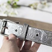 Аксессуары handmade. Livemaster - original item A leather belt with embossed Silver. Handmade.