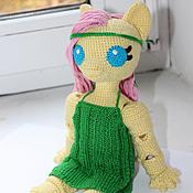 Куклы и игрушки ручной работы. Ярмарка Мастеров - ручная работа Вязаная шарнирная кукла по мотивам My Little Pony Флаттершай. Handmade.