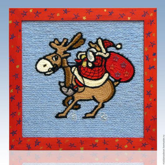 Люди, ручной работы. Ярмарка Мастеров - ручная работа. Купить Картина вязанная из пряжи Дед Мороз на олене 30 х 30 см. Handmade.