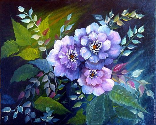 Картины цветов ручной работы. Ярмарка Мастеров - ручная работа. Купить Роза дикая. Handmade. Красный, контрастный, садовая роза